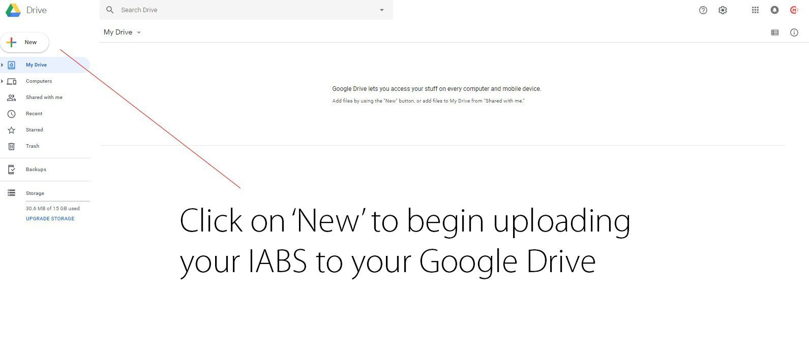 how to link an IABS to email signature using Google Drive