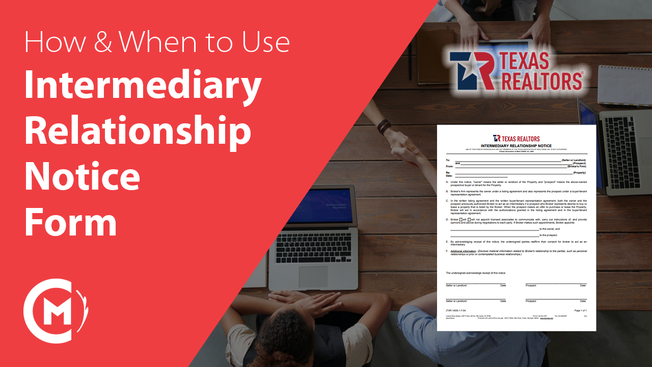 how and when to use TAR 1409 intermediary relationship notice form