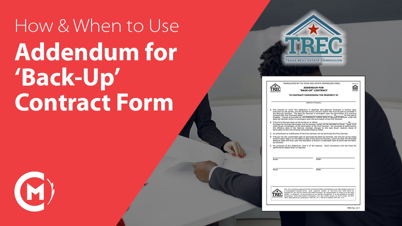 TREC Addendum for Back Up Contract Texas Real Estate