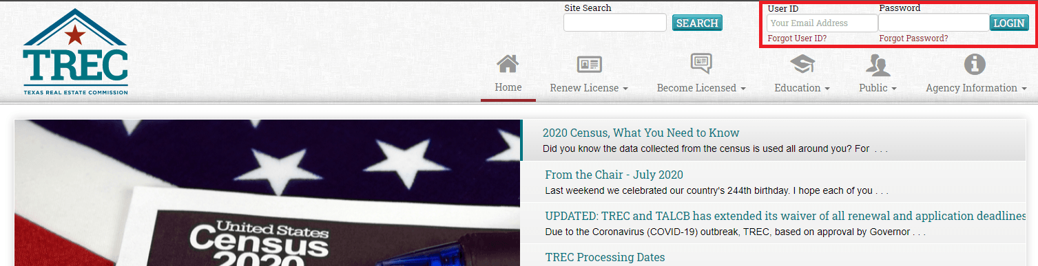 Logging in to your TREC account online to manage your license
