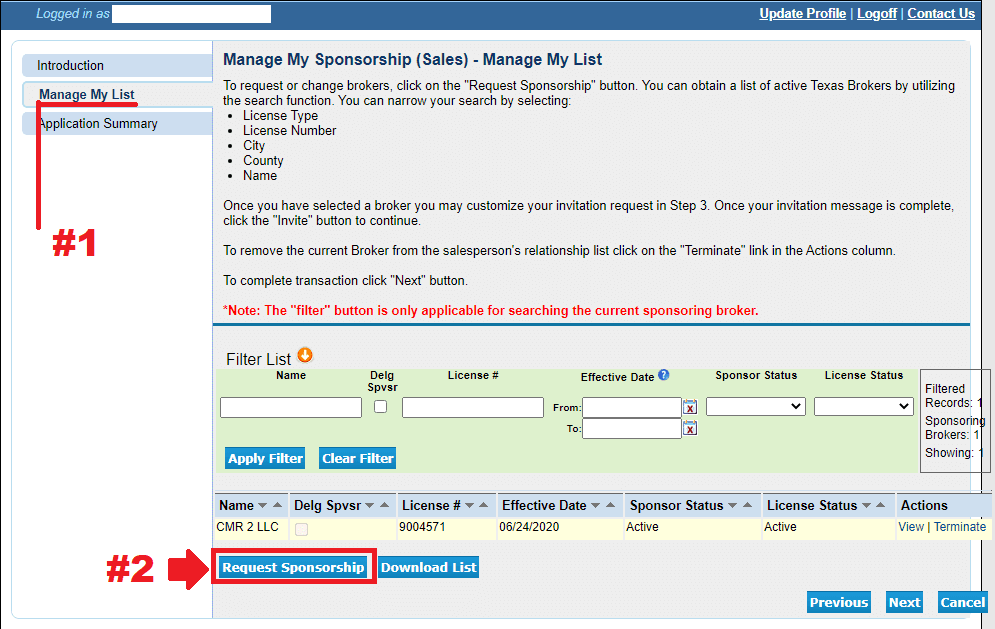 click the request sponsorship button to initiate your license transfer