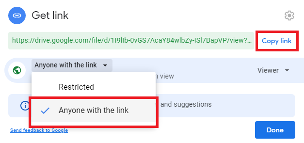select get link after right clicking the file