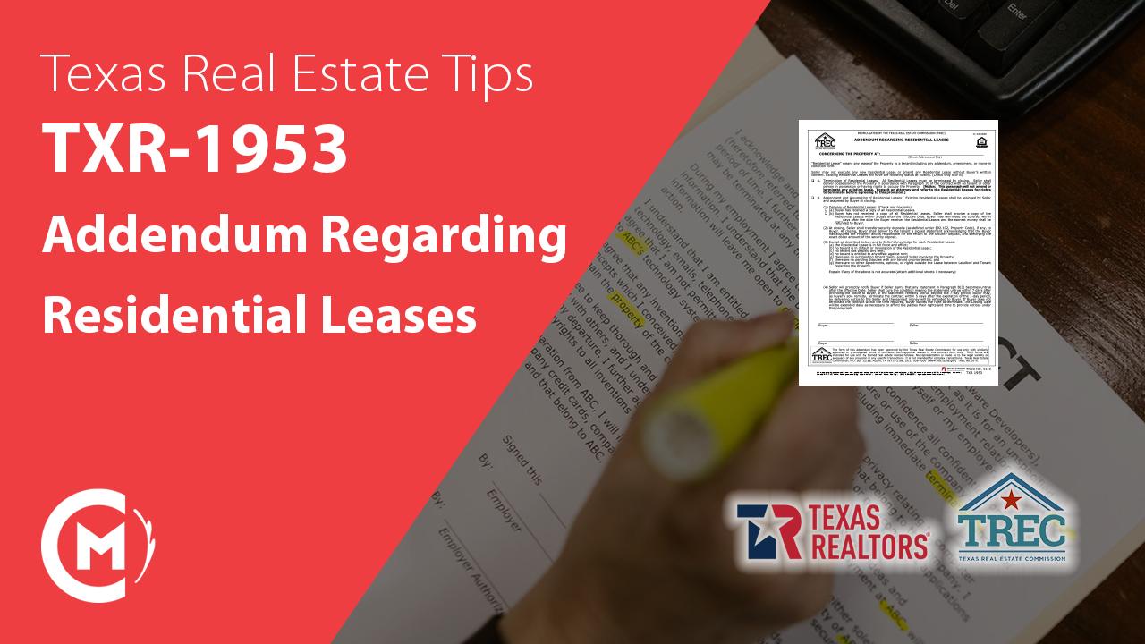 TXR-1953 addendum regarding residential leases